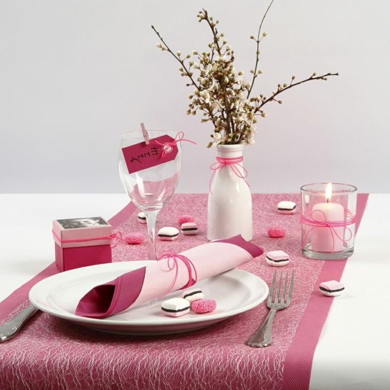 Tischdeko für Geburtstag rosa