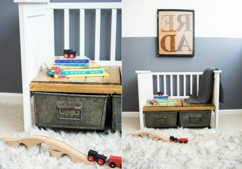 praktische Sitzbank aus Babybett