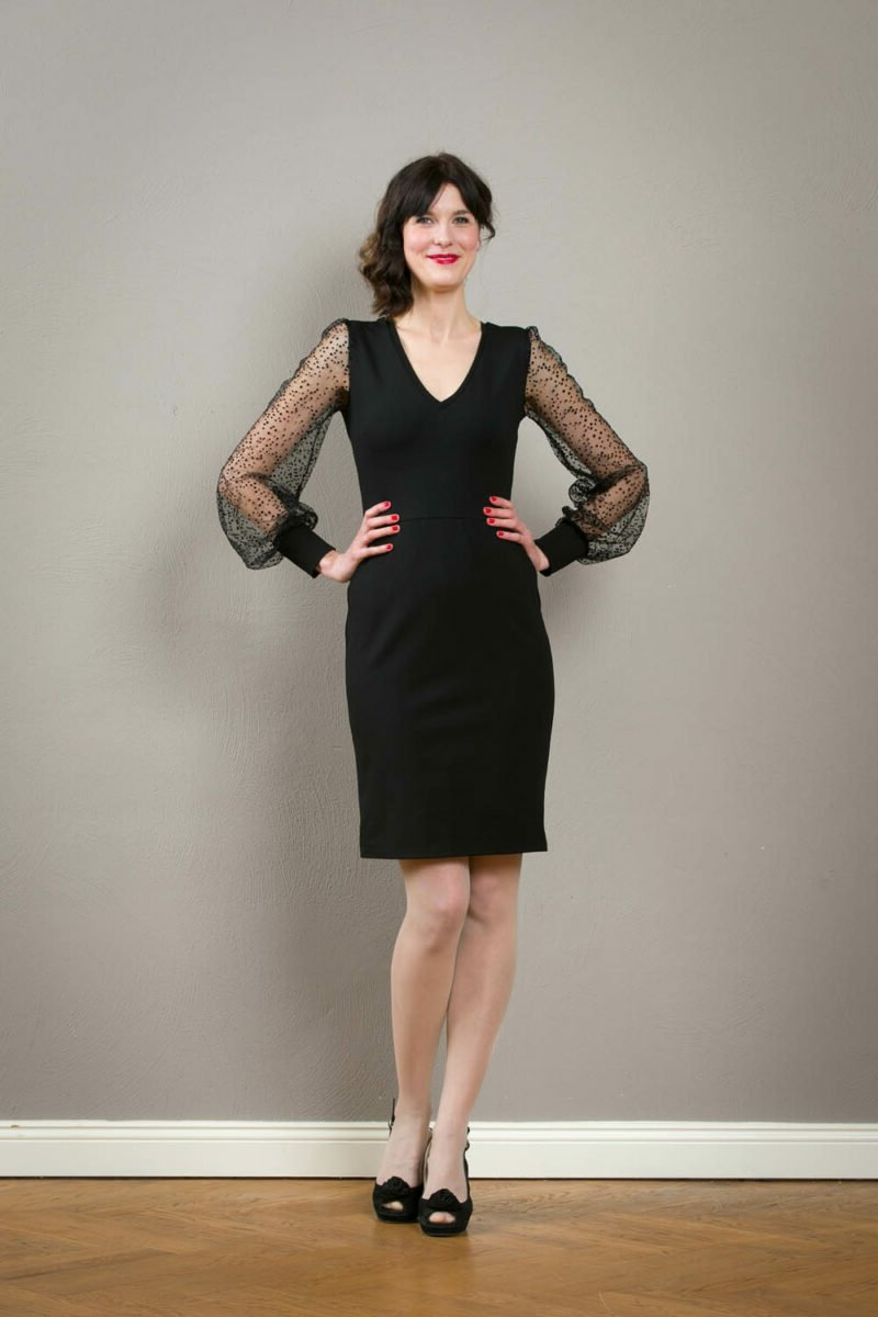 Basic Kleidung schwarzes Kleid Herbst Winter