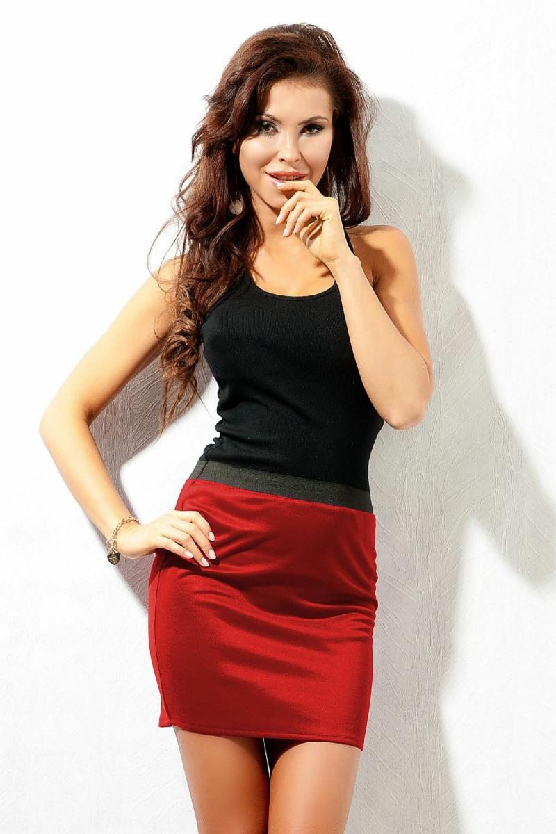 Basic Kleidung Damen kurzer Rock in Rot