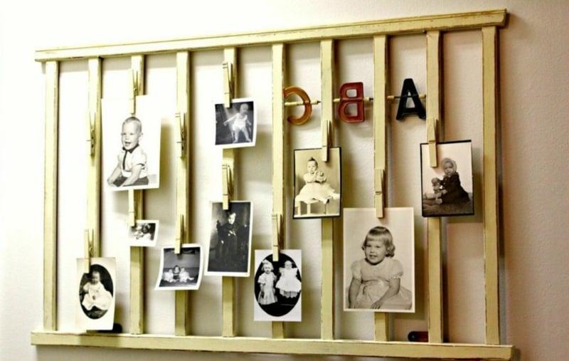Holzgitter Kinderbett Memoboard Fotos