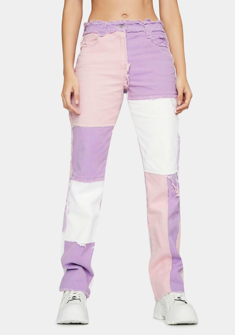 Patchwork Jeans rosa lila weiß