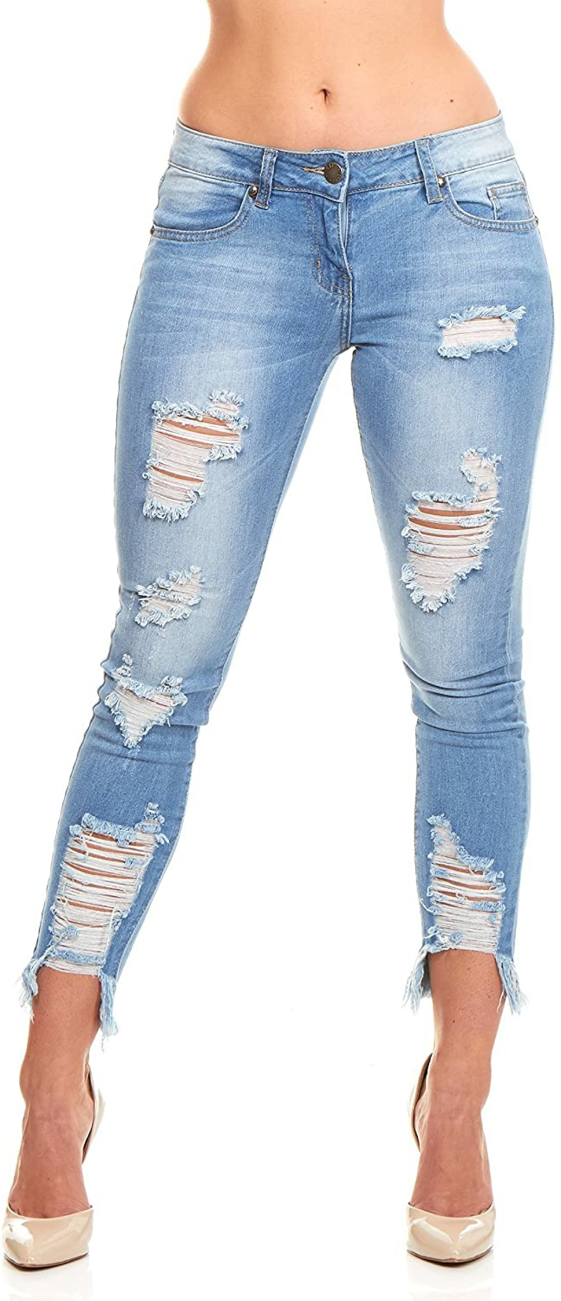 modische Jeans gerissen