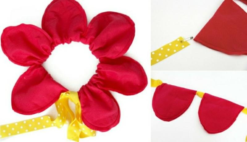 Faschingshüte basteln Blume aus Filz