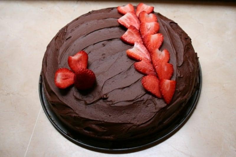 Erdbeer Deko für Schokoladenkuchen