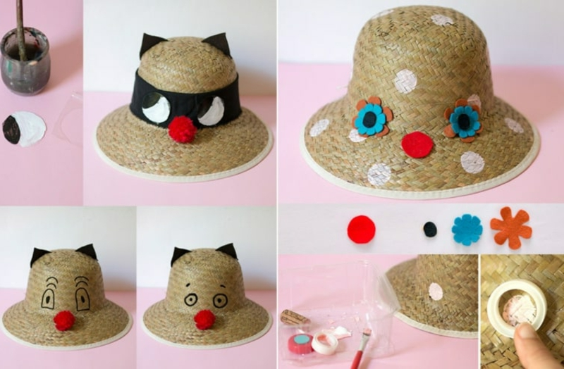 Karnevalshut aus Stroh originelle Idee