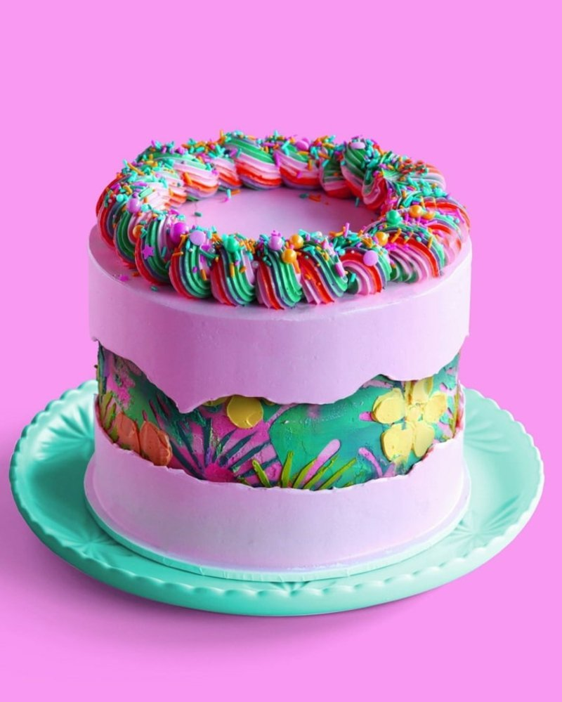 Fault Line Cake für Kinder bunt pastellige Farben