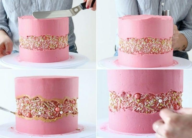 Fault Line Cake mit Creme bestreichen