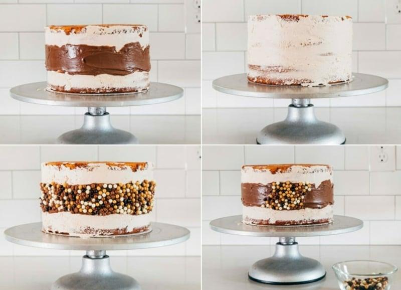 Fault Line Cake mit Zuckerperlen dekorieren