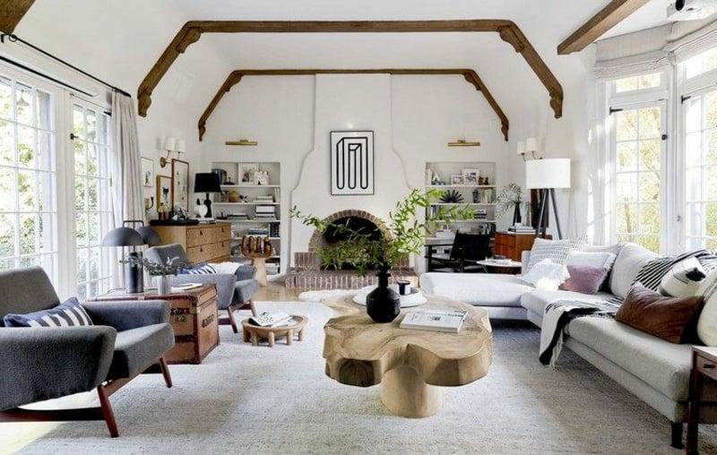 Wohnzimmer modern weiße Wandfarbe