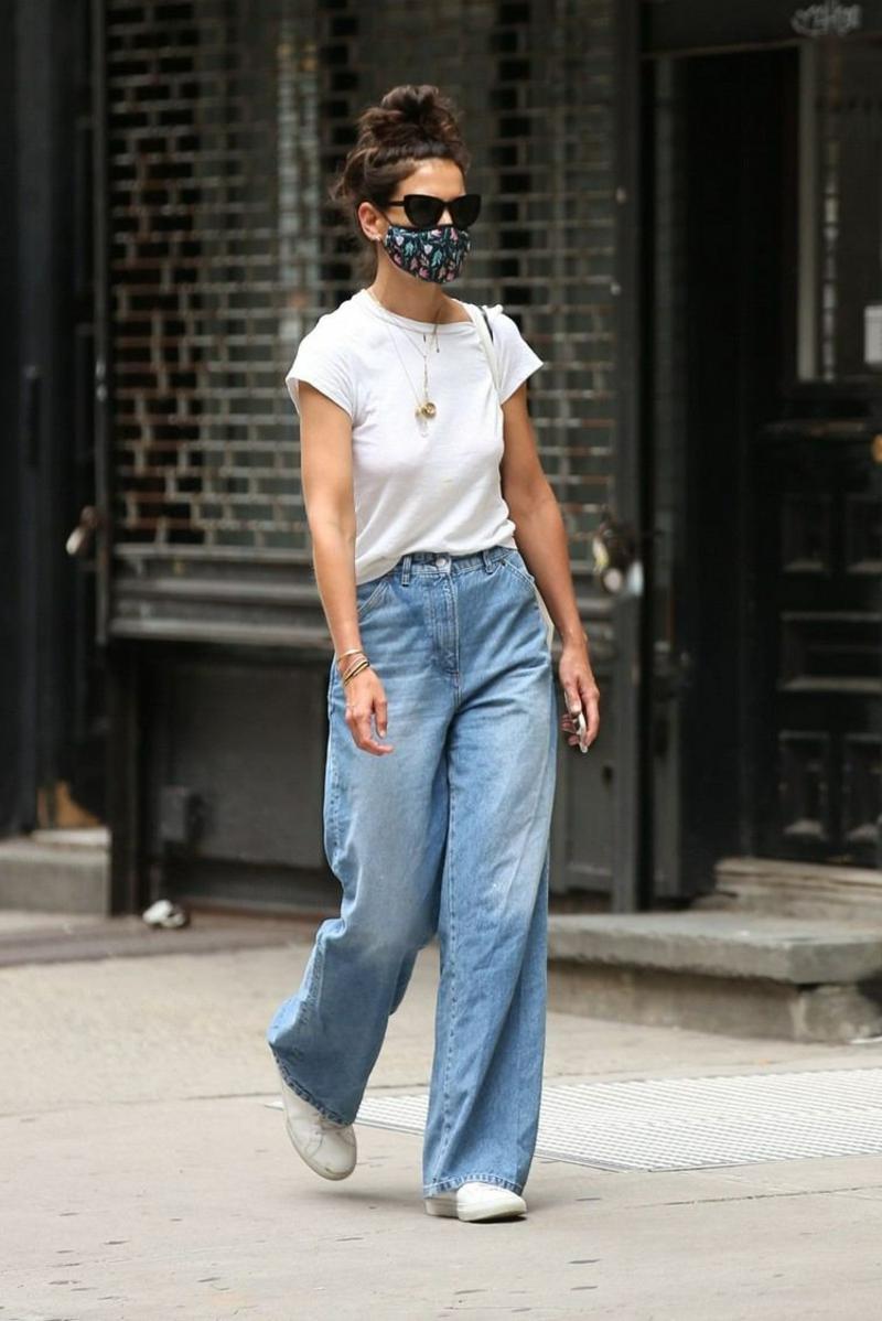 breite Jeanshose stilvoll kombinieren