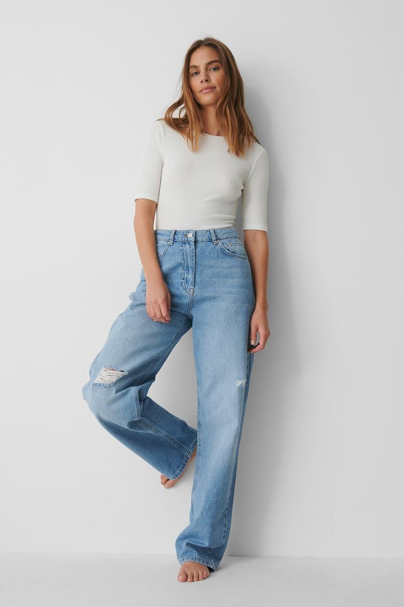 bequeme weite Jeans tragen