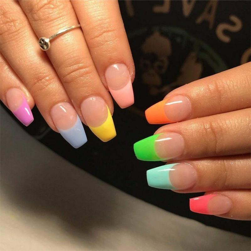 French Nägel Spitzen Neonfarben