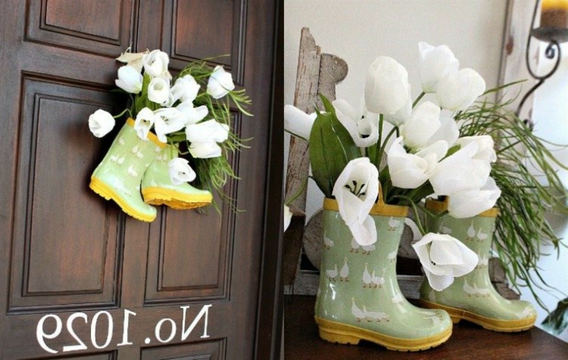 originelle Frühlingsdeko mit Stiefeln