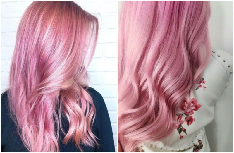 pastellige rosa Haare lang lockig