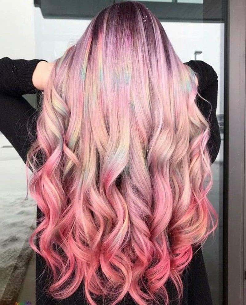 Haare rosa färben tolle Lockenfrisur