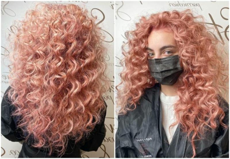 Naturlocken Rosegold Farbe trendy