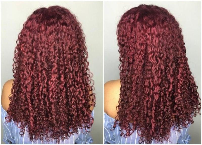 Weinfarbe Naturlocken langes Haar