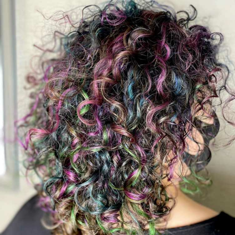 Oil Silk Haare bunte Strähnen