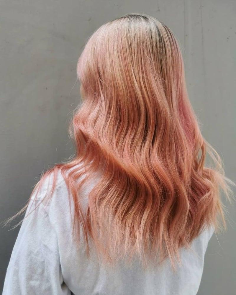 moderne Haarfarben Pfirsichrosa