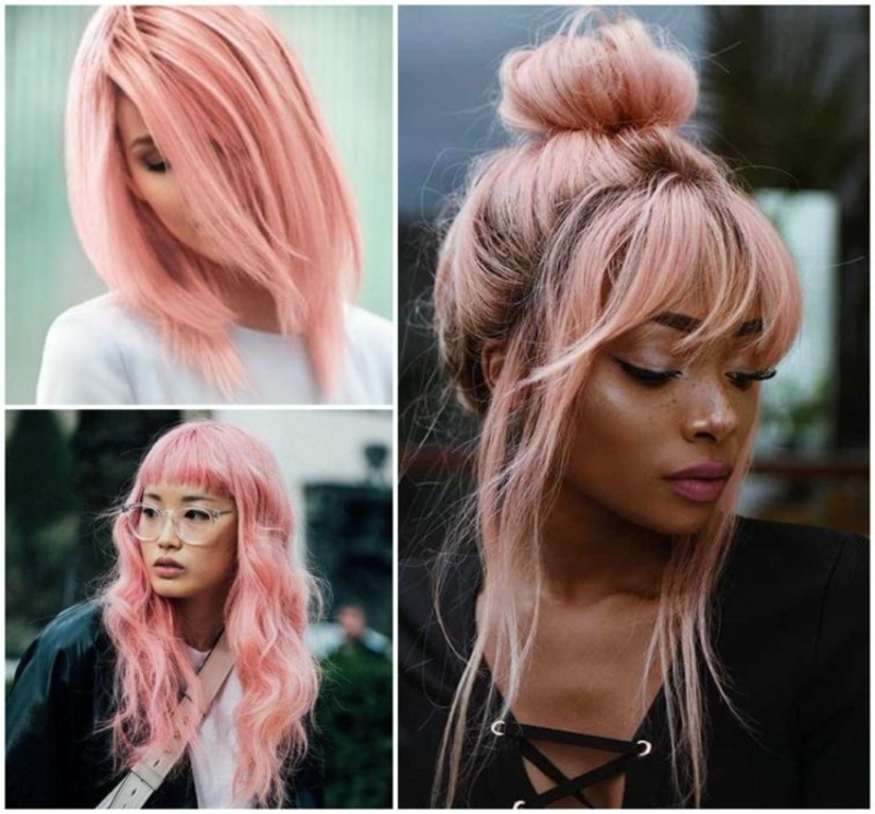 pinke Haare elegante Frisuren