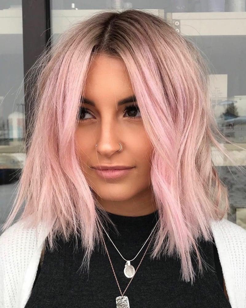 rosa Haare Bob ganz modern