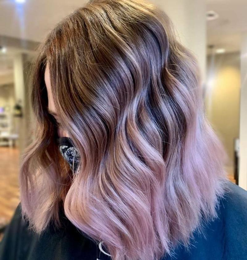Haare rosa färben Balayage Technik