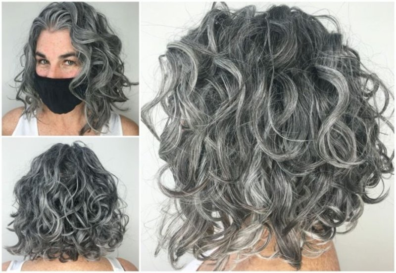 Haare färben Silbergrau Locken