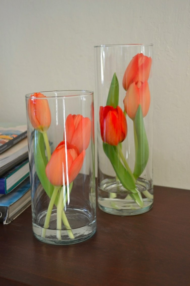 Tulpen orange hohe Glasvasen stilvoll