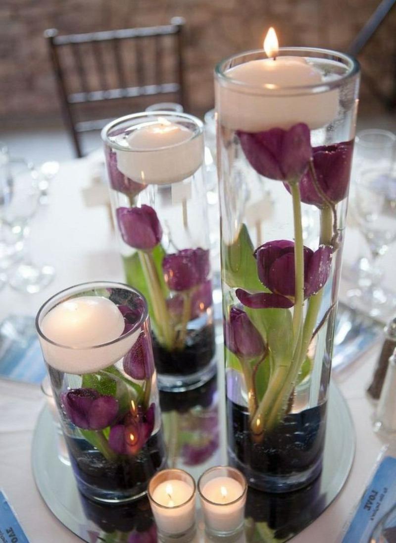 wunderschöne Tischdeko schwimmende Kerzen Tulpen