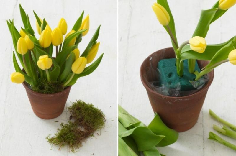 gelbe Tulpen arrangieren Blumenschwamm Tontopf