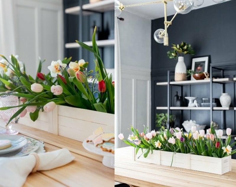 Tulpen arrangieren in einer Holzkiste