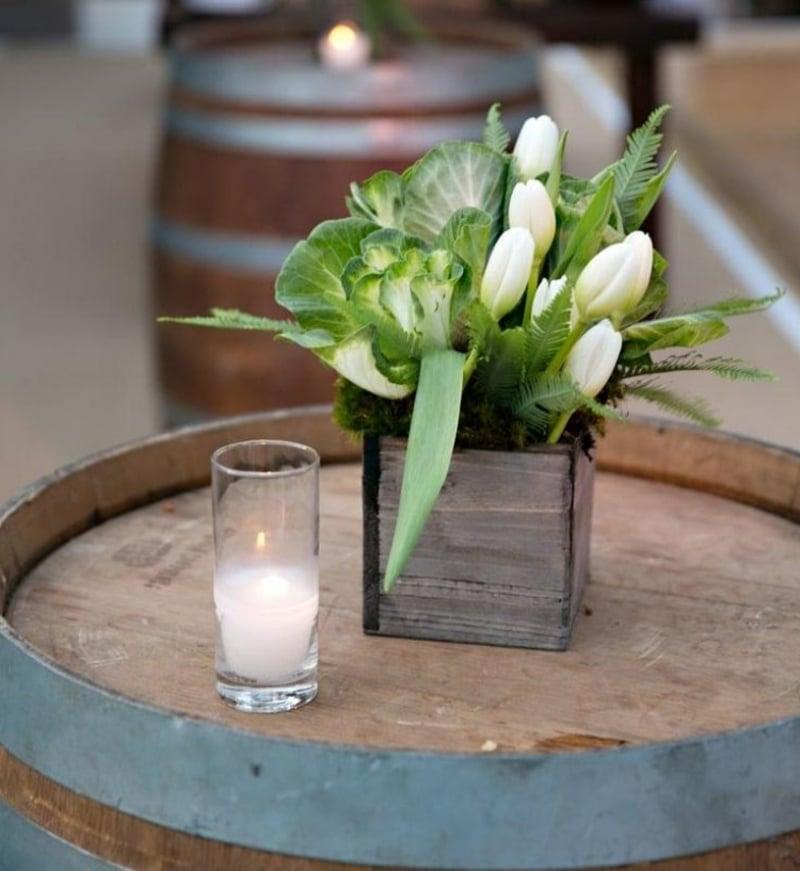 Tulpengesteck Tischdeko weiße Tulpen