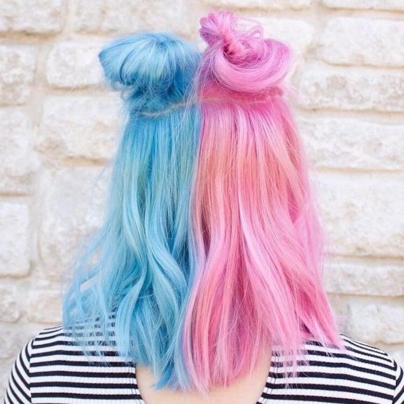 Zuckerwatte Haare blau rosa