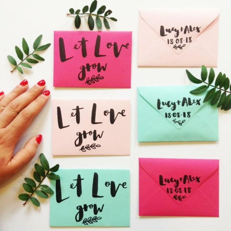 Briefumschläge beschriften Samen aufbewahren