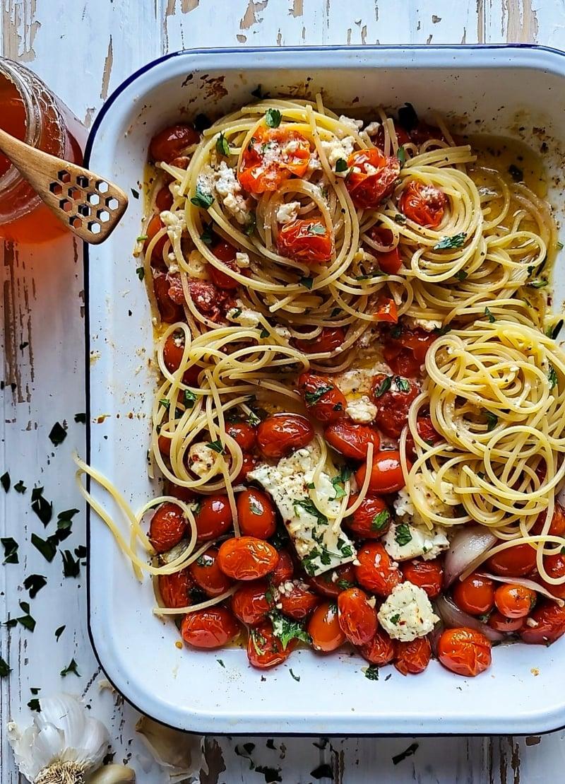Feta Pasta Rezept Spaghetti lecker