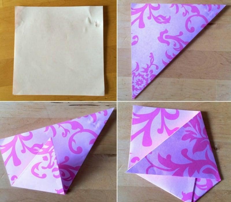 Origami falten Samentütchen