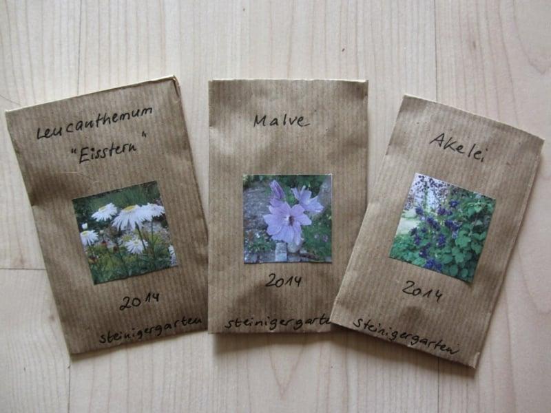 Papiertüten mit Fotos Samen Pflanzen