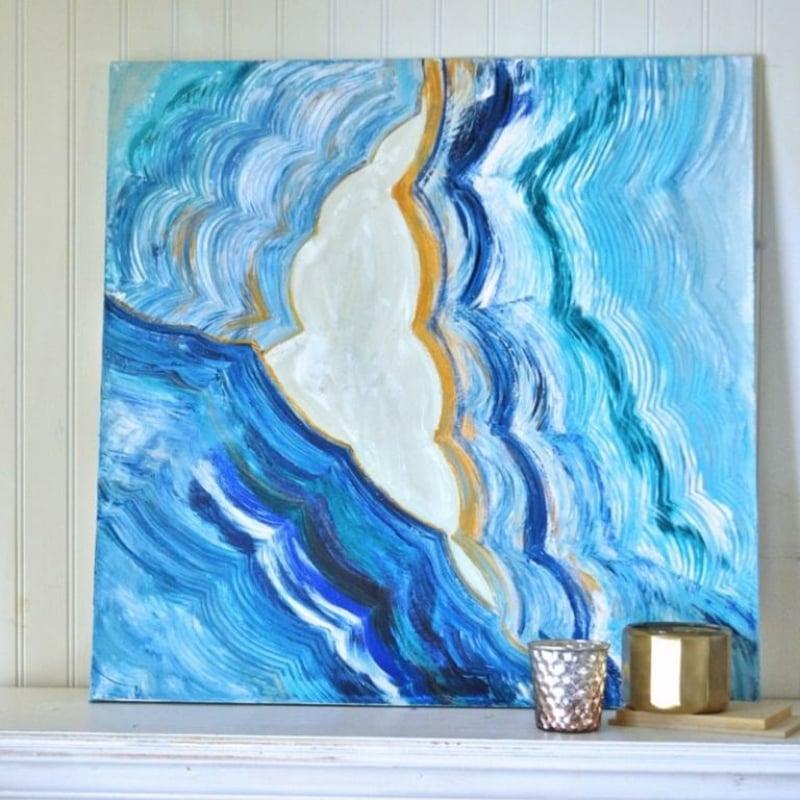 Leinwand bemalen abstrakte Motive Wellen