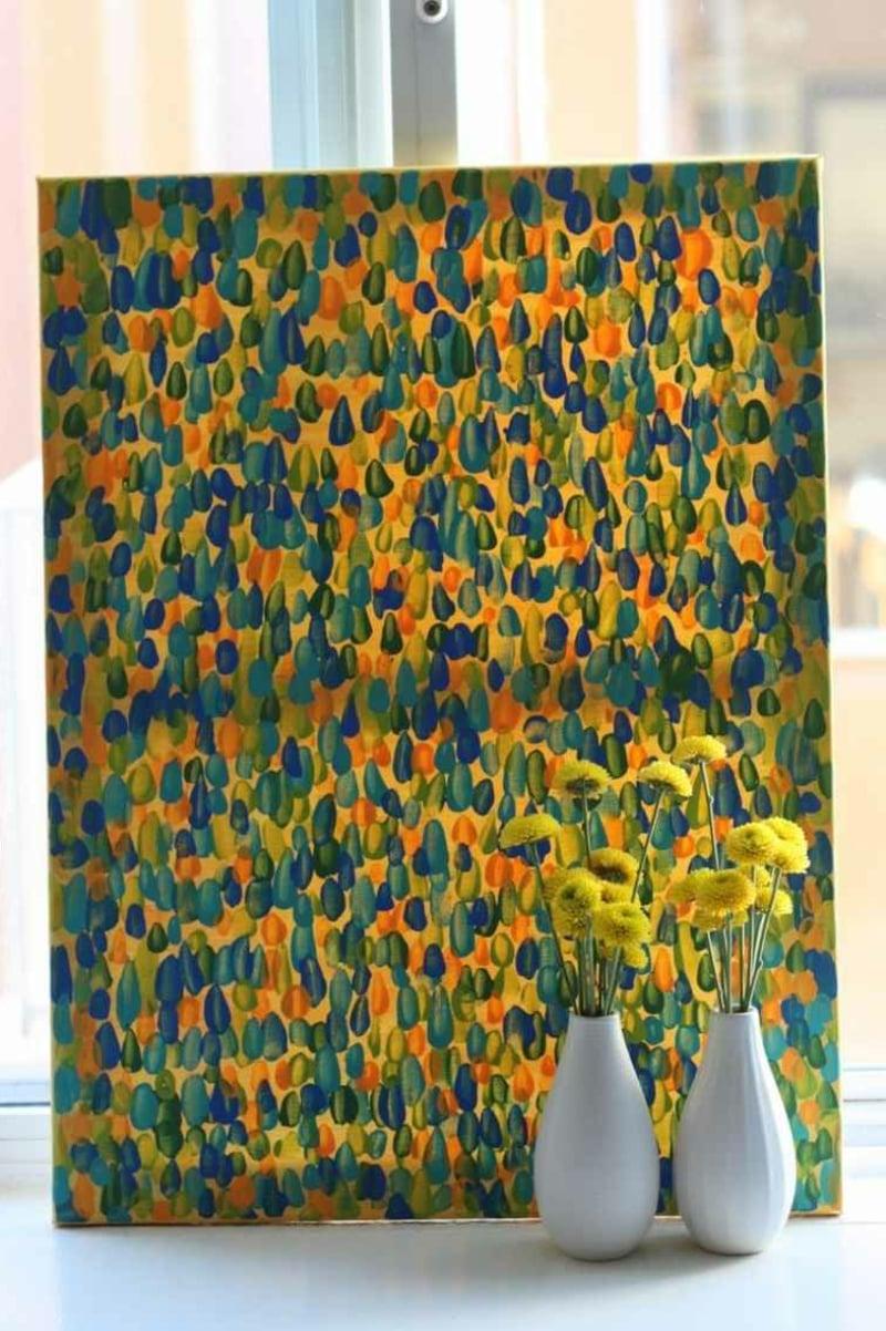 Leinwand bemalen farbige Flecken Pointillismus