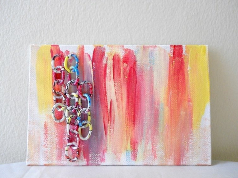 selbstgemachte Wanddeko herrliche Farben