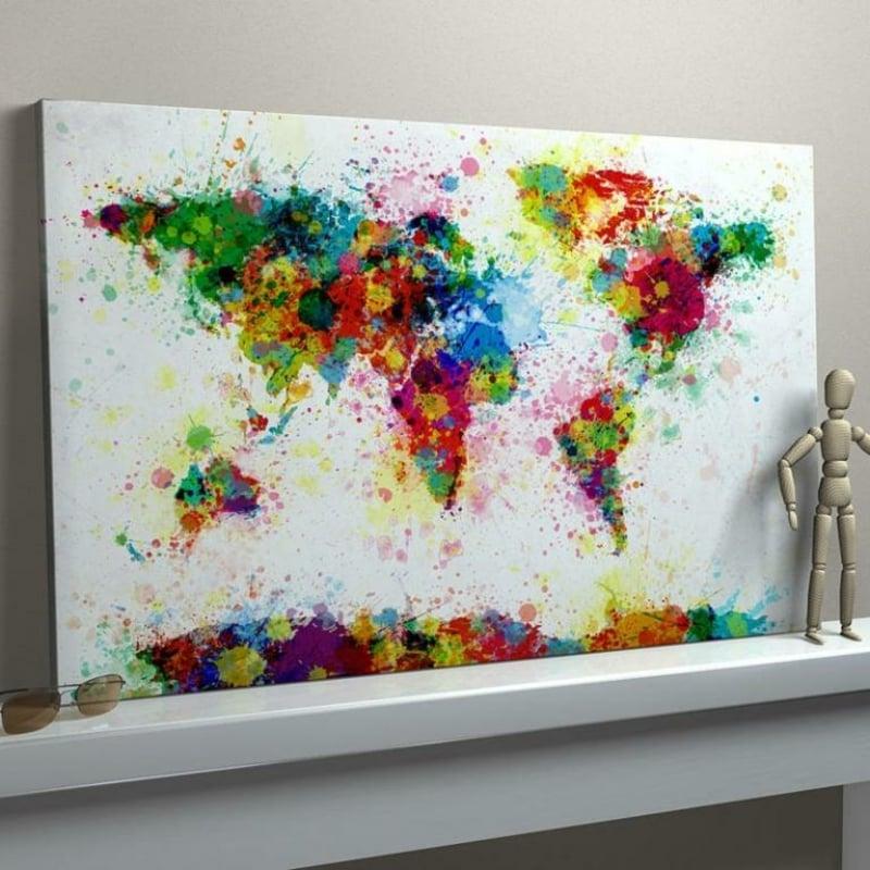 Leinwand bemalen Weltkarte sehr schön