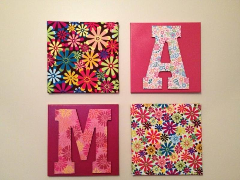Leinwand bemalen Blumen Buchstaben