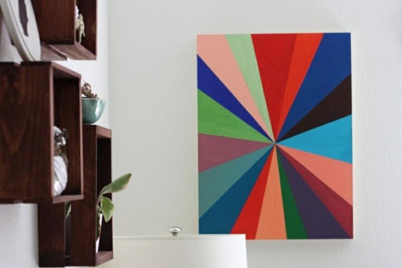 Leinwand bemalen geometrische Motive farbig