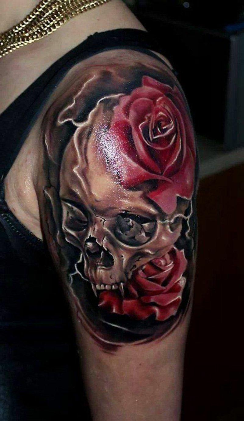 3D Tattoos Schulter Totenkopf mit Rosen