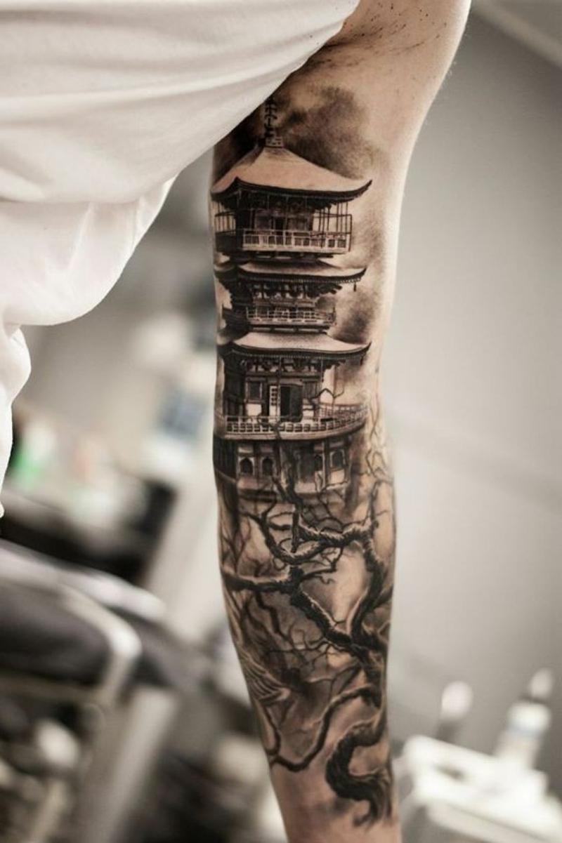 3D Tattoos Ärmal japanische Motive