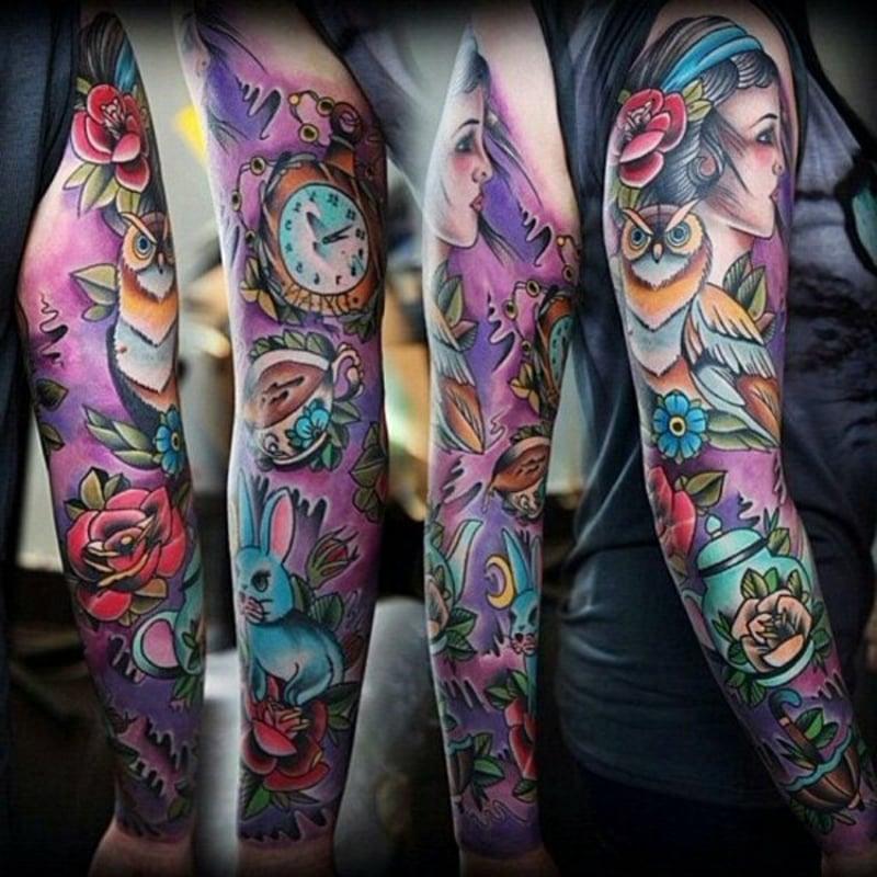 bunte Ärmel Tattoos Ideen und Anregungen