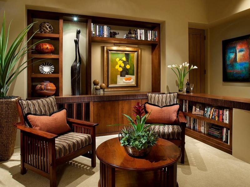 afrikanische Deko Wohnzimmer Holzmöbel