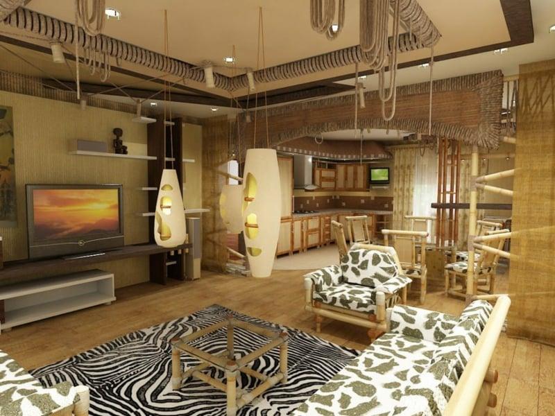 marokkanische Lampen Holzmöbel originell Wohnzimmer