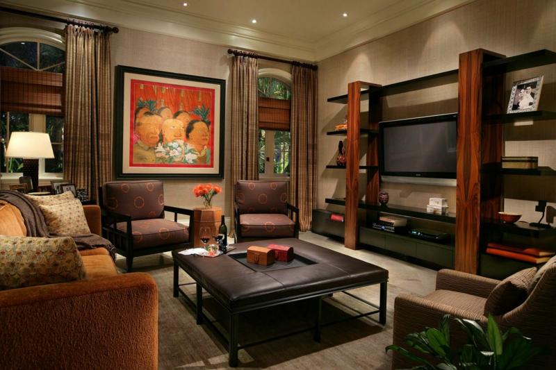 Wohnzimmer Interieur in Beige orientalische Dekorationen